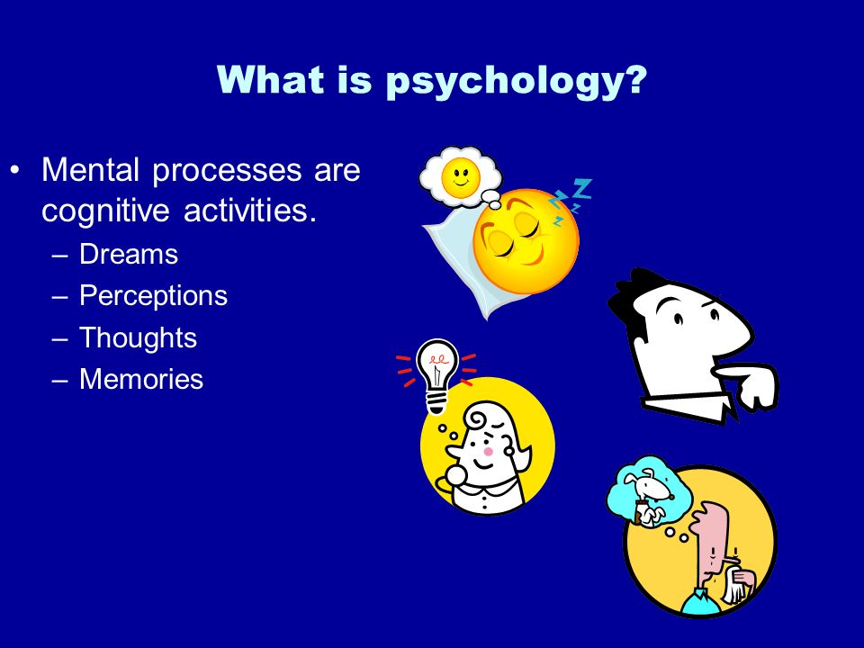 What is psychology Mental processes are cognitive activities. Dreams