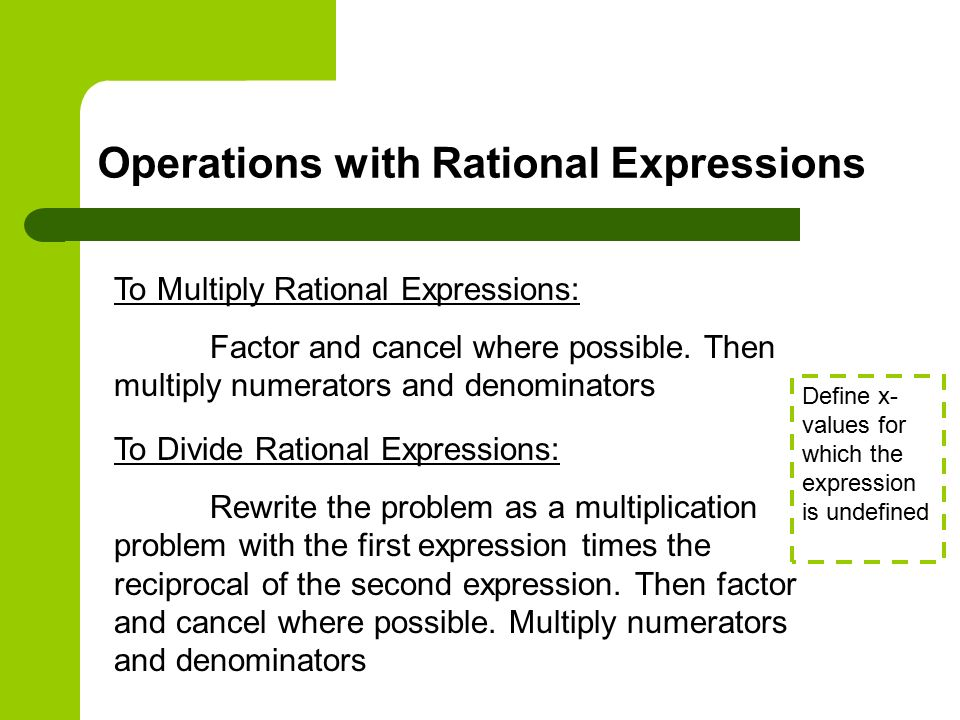 Operations with Rational Expressions