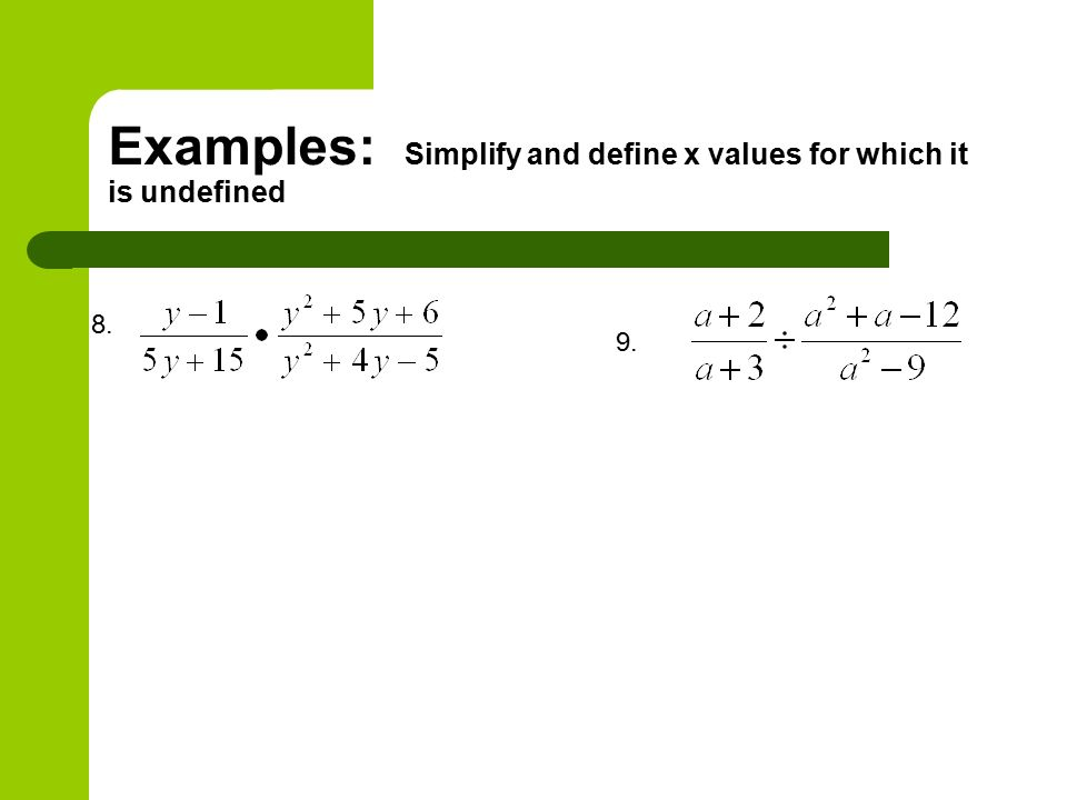 Examples: Simplify and define x values for which it is undefined