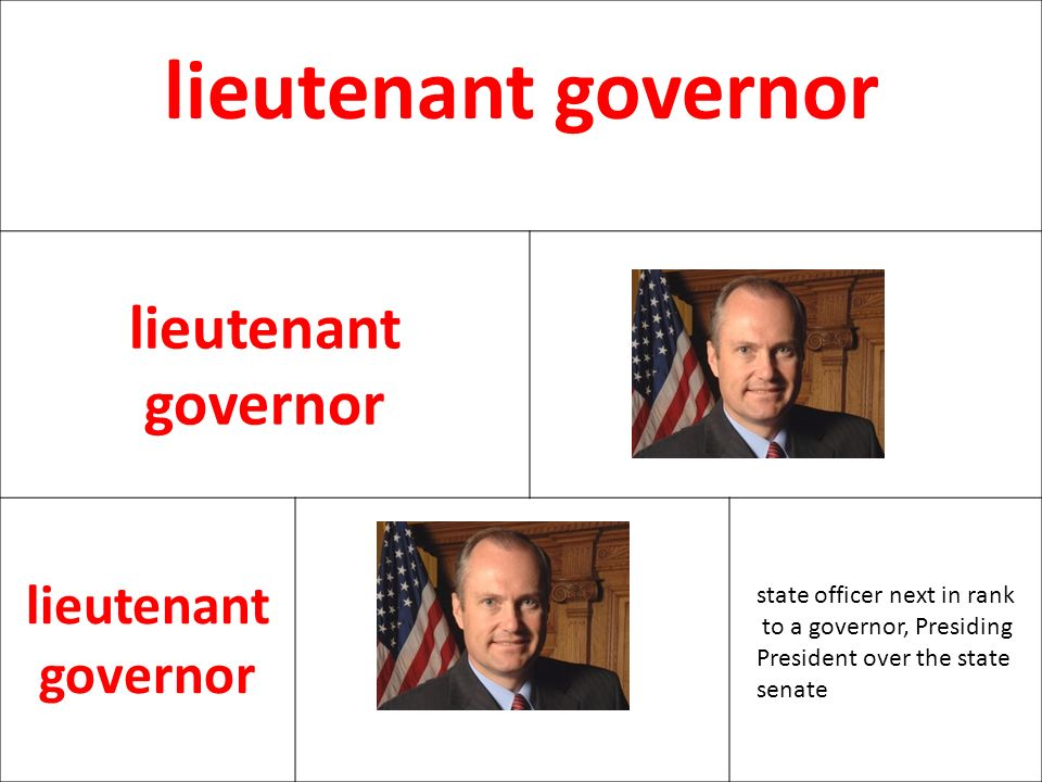 lieutenant governor state officer next in rank to a governor, Presiding President over the state senate.