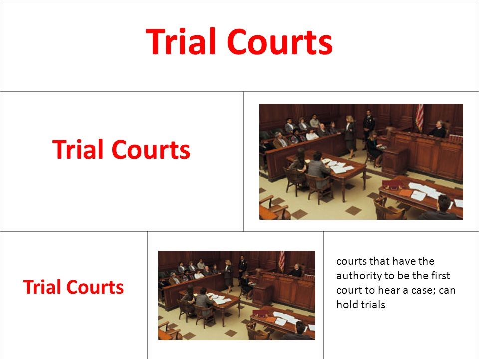 Trial Courts courts that have the authority to be the first court to hear a case; can hold trials