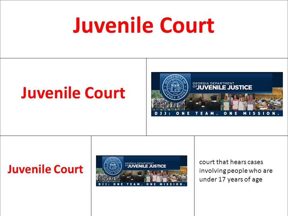 Juvenile Court court that hears cases involving people who are under 17 years of age