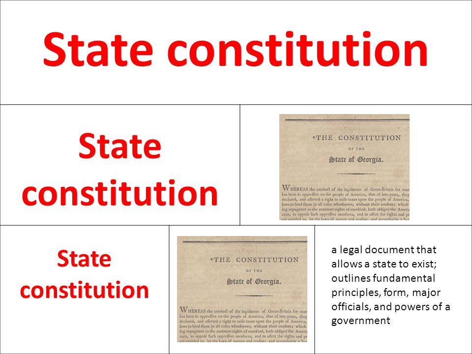 State constitution a legal document that allows a state to exist; outlines fundamental principles, form, major officials, and powers of a government.