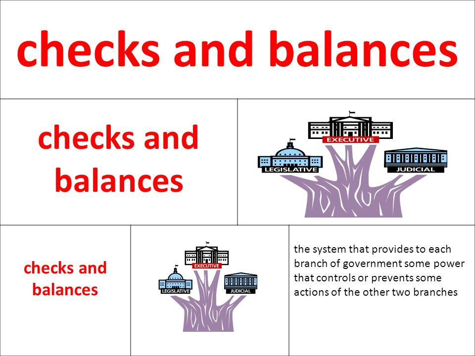 checks and balances the system that provides to each
