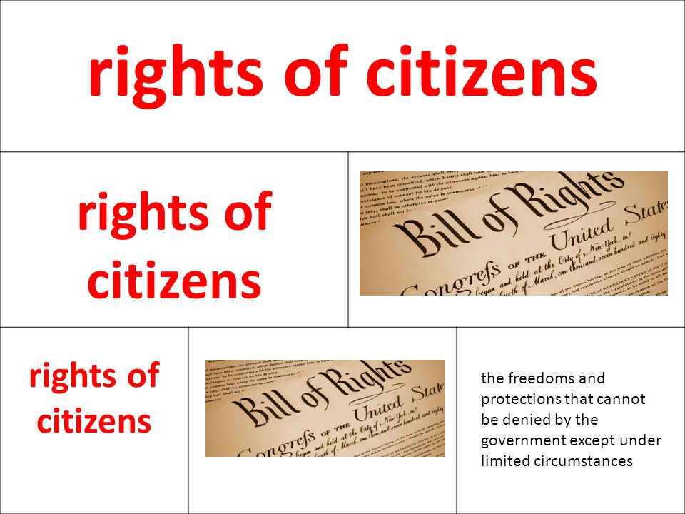 rights of citizens the freedoms and protections that cannot be denied by the government except under limited circumstances.