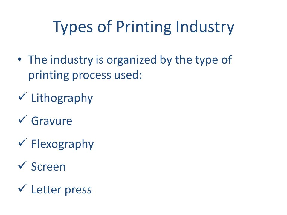 Types Of Printing Industry