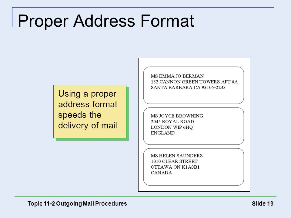 international mailing address format