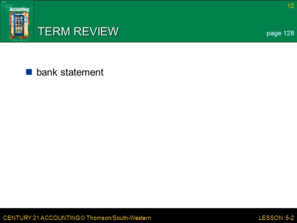 TERM REVIEW page 128 bank statement LESSON 5-2