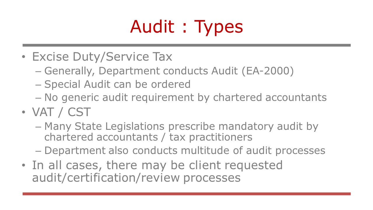 What are the types of tax audits
