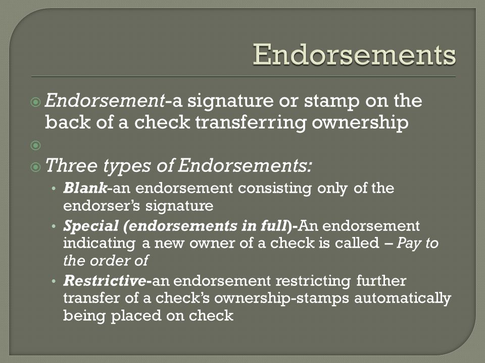 Endorts Endort A Signature Or Stamp On The Back Of Check Transferring Ownership