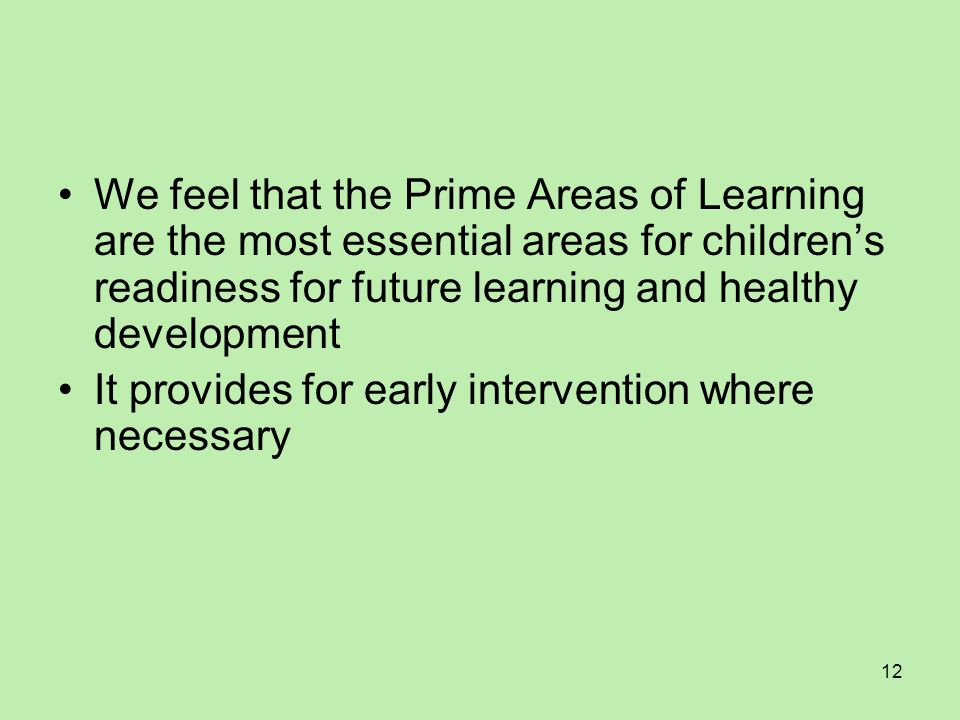 We feel that the Prime Areas of Learning are the most essential areas for children's readiness for future learning and healthy development