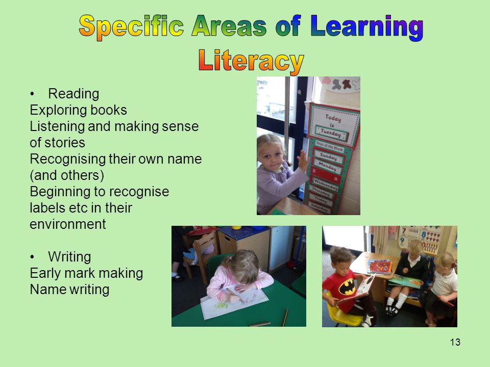 Specific Areas of Learning