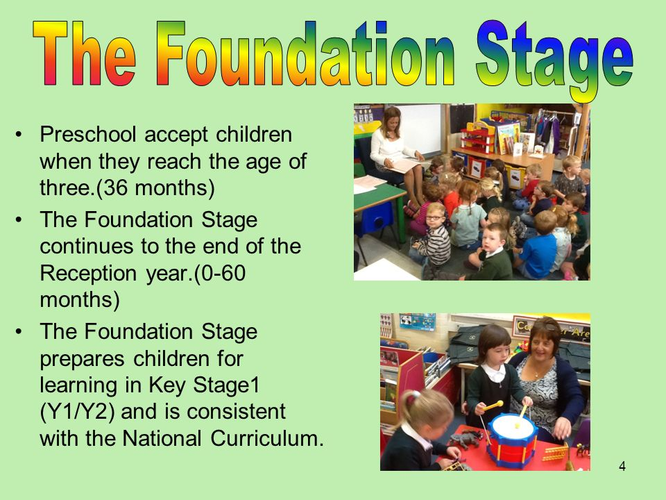 The Foundation Stage Preschool accept children when they reach the age of three.(36 months)