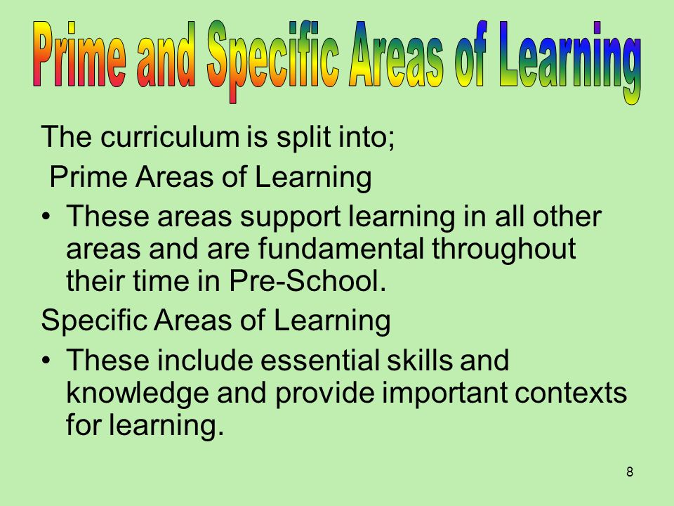 Prime and Specific Areas of Learning