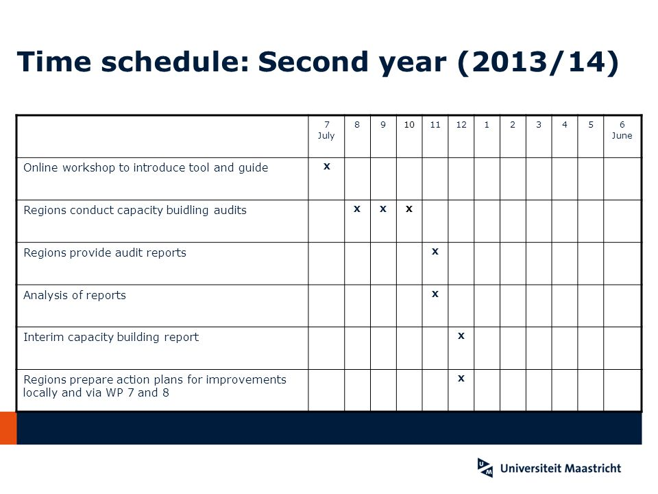 Time schedule: Second year (2013/14)