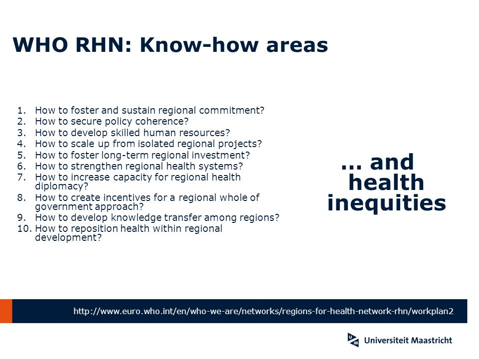 WHO RHN: Know-how areas