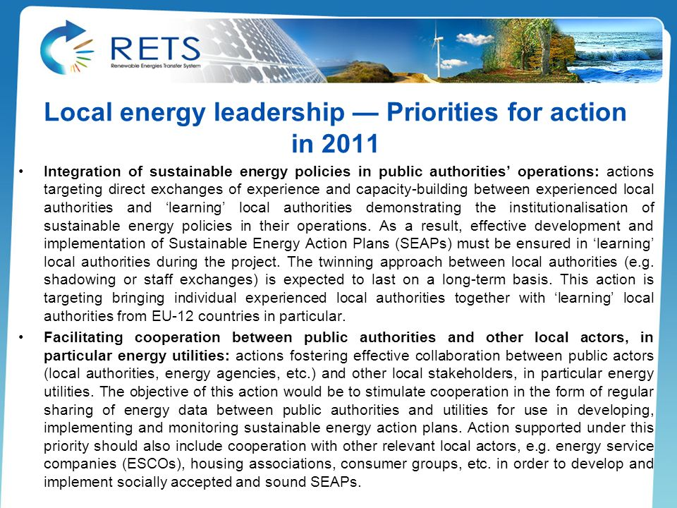 Local energy leadership — Priorities for action in 2011