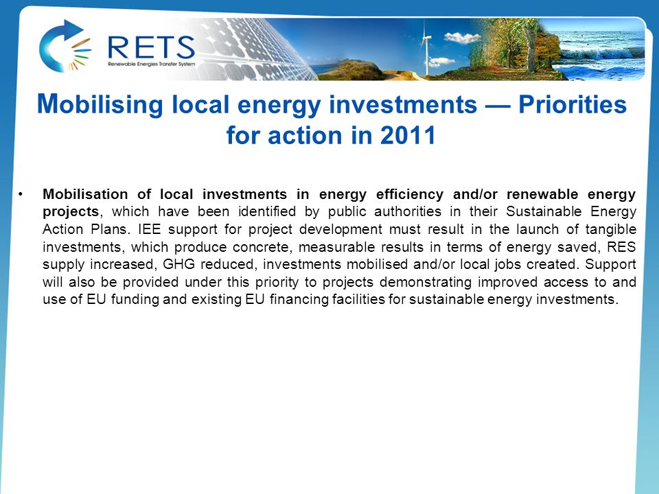 Mobilising local energy investments — Priorities for action in 2011