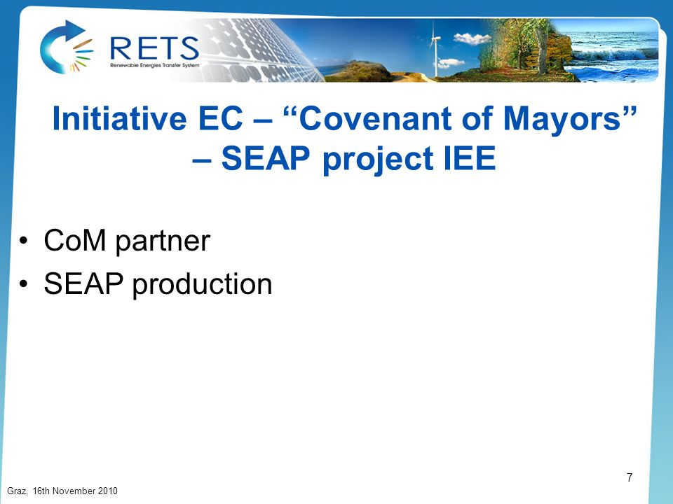 Initiative EC – Covenant of Mayors – SEAP project IEE