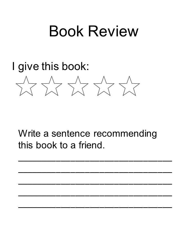 Book Review I give this book:
