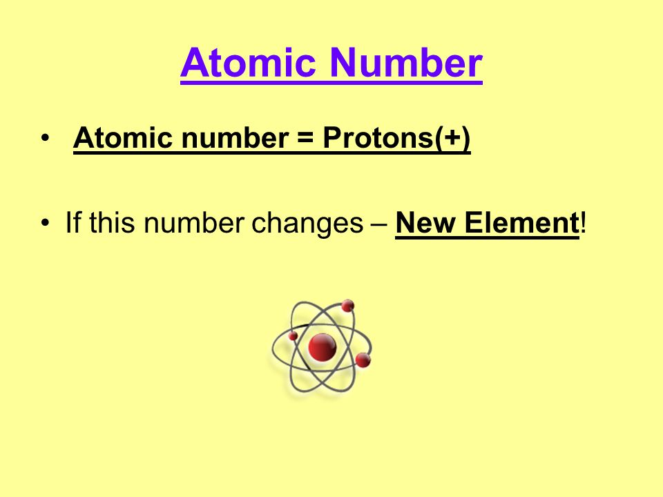 Atomic Number Atomic number = Protons(+)