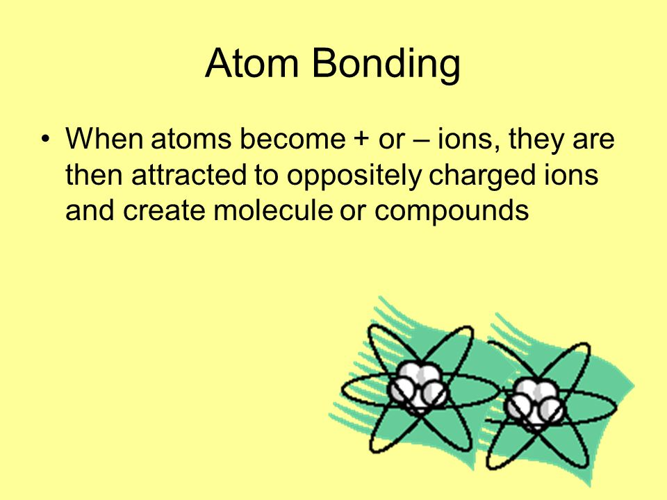 Atom Bonding When atoms become + or – ions, they are then attracted to oppositely charged ions and create molecule or compounds.