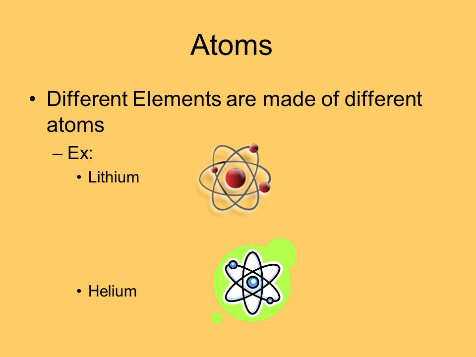 Atoms Different Elements are made of different atoms Ex: Lithium