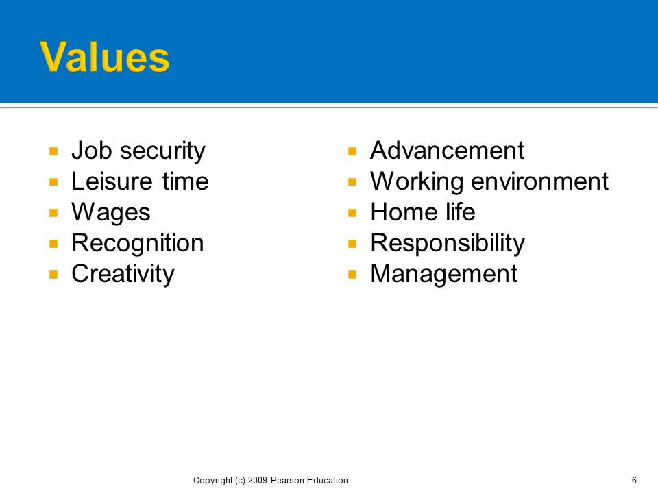 Values Job security Leisure time Wages Recognition Creativity