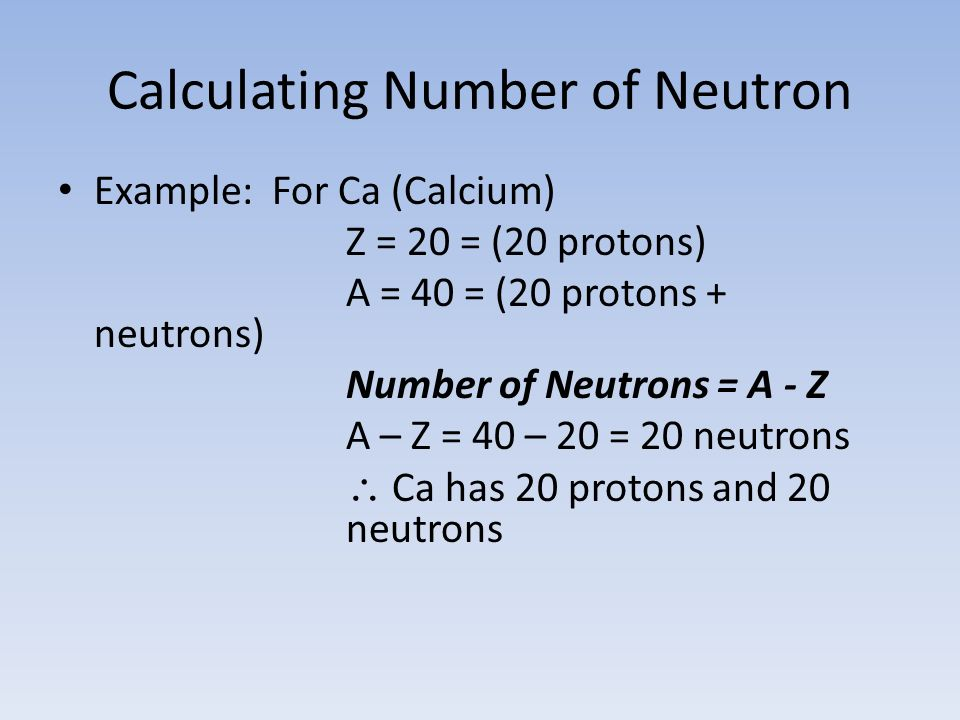 Calculating Number of Neutron