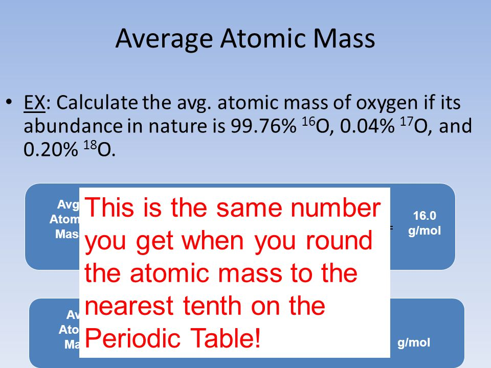 Average Atomic Mass EX: Calculate the avg. atomic mass of oxygen if its abundance in nature is 99.76% 16O, 0.04% 17O, and 0.20% 18O.