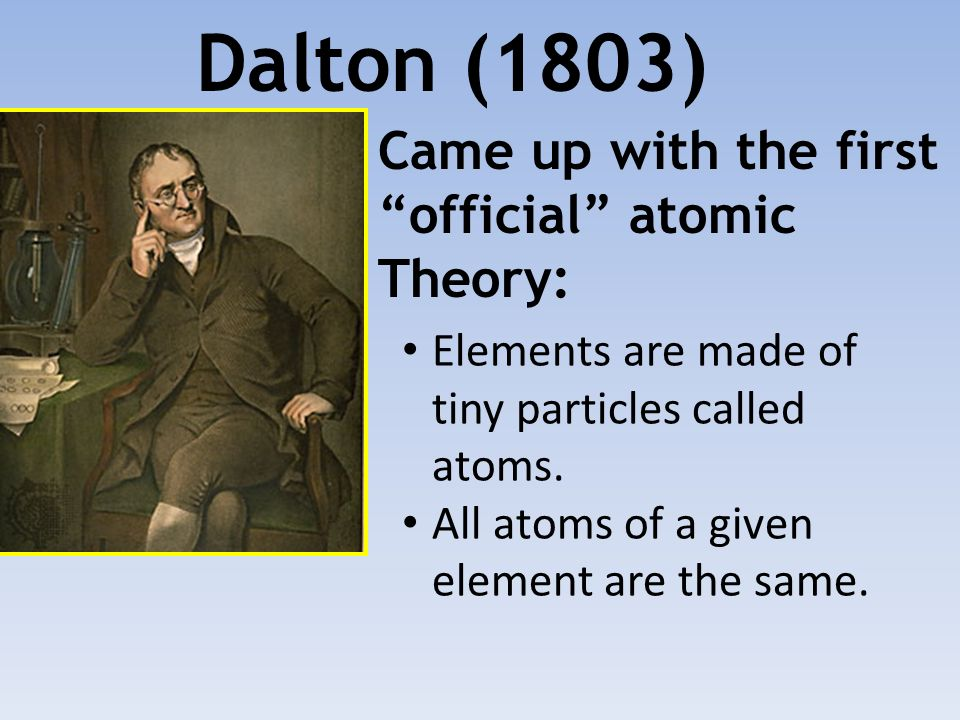 Dalton (1803) Came up with the first official atomic Theory:
