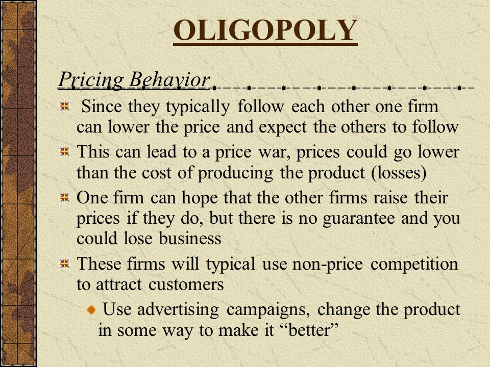 OLIGOPOLY Pricing Behavior