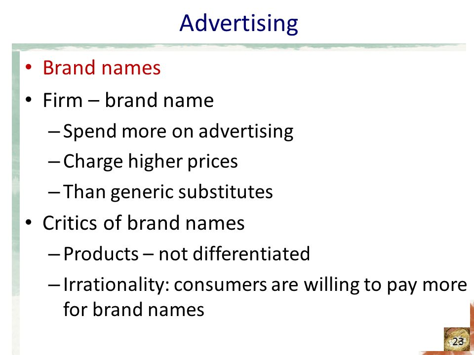 Advertising Brand names Firm – brand name Critics of brand names