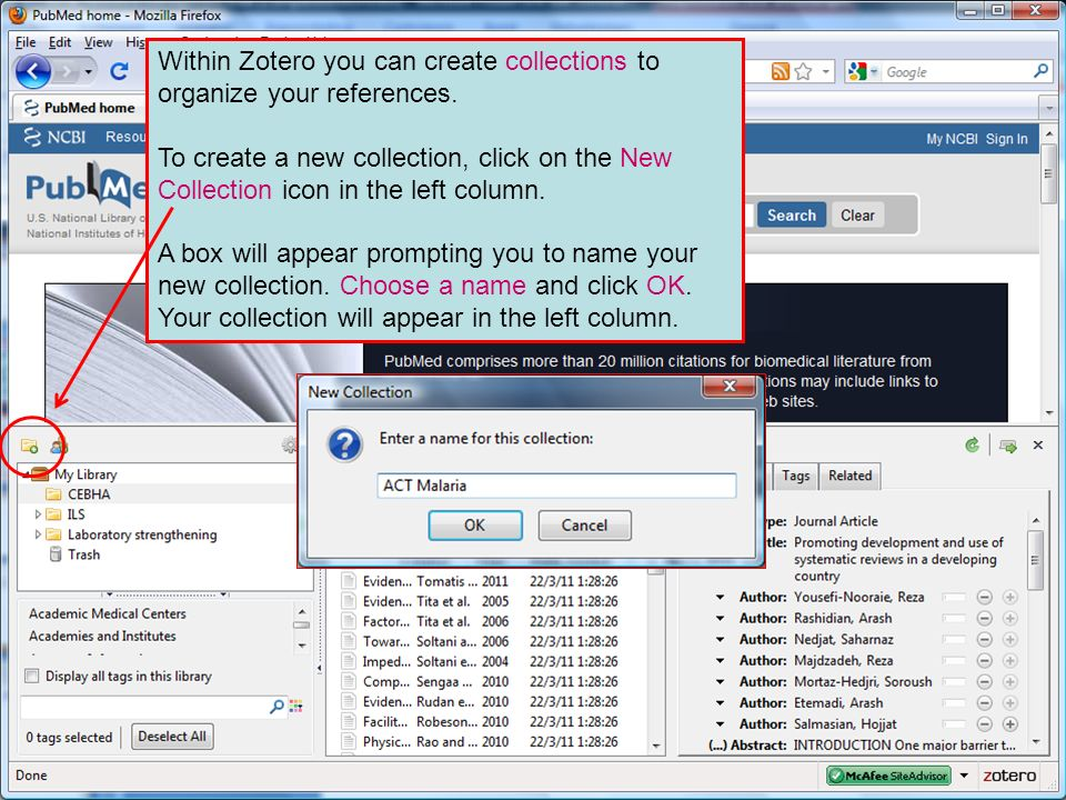 Within Zotero you can create collections to organize your references.