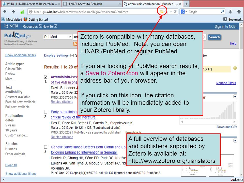 Zotero is compatible with many databases, including PubMed