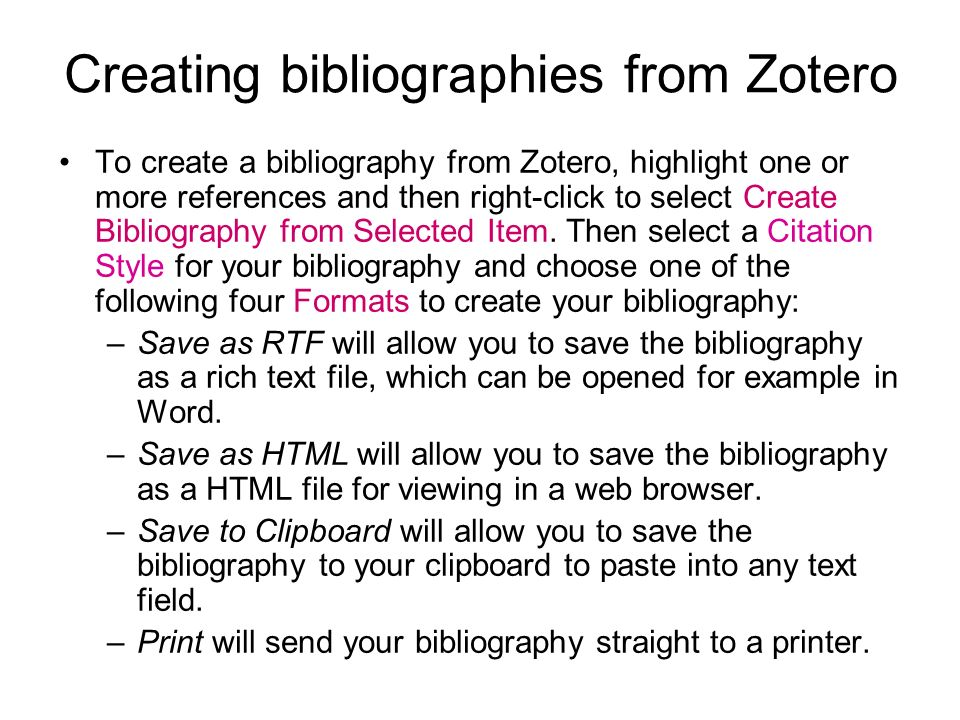 Creating bibliographies from Zotero