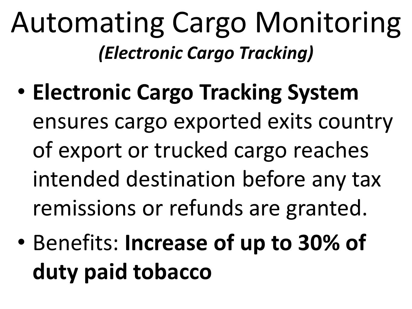 Automating Cargo Monitoring (Electronic Cargo Tracking)