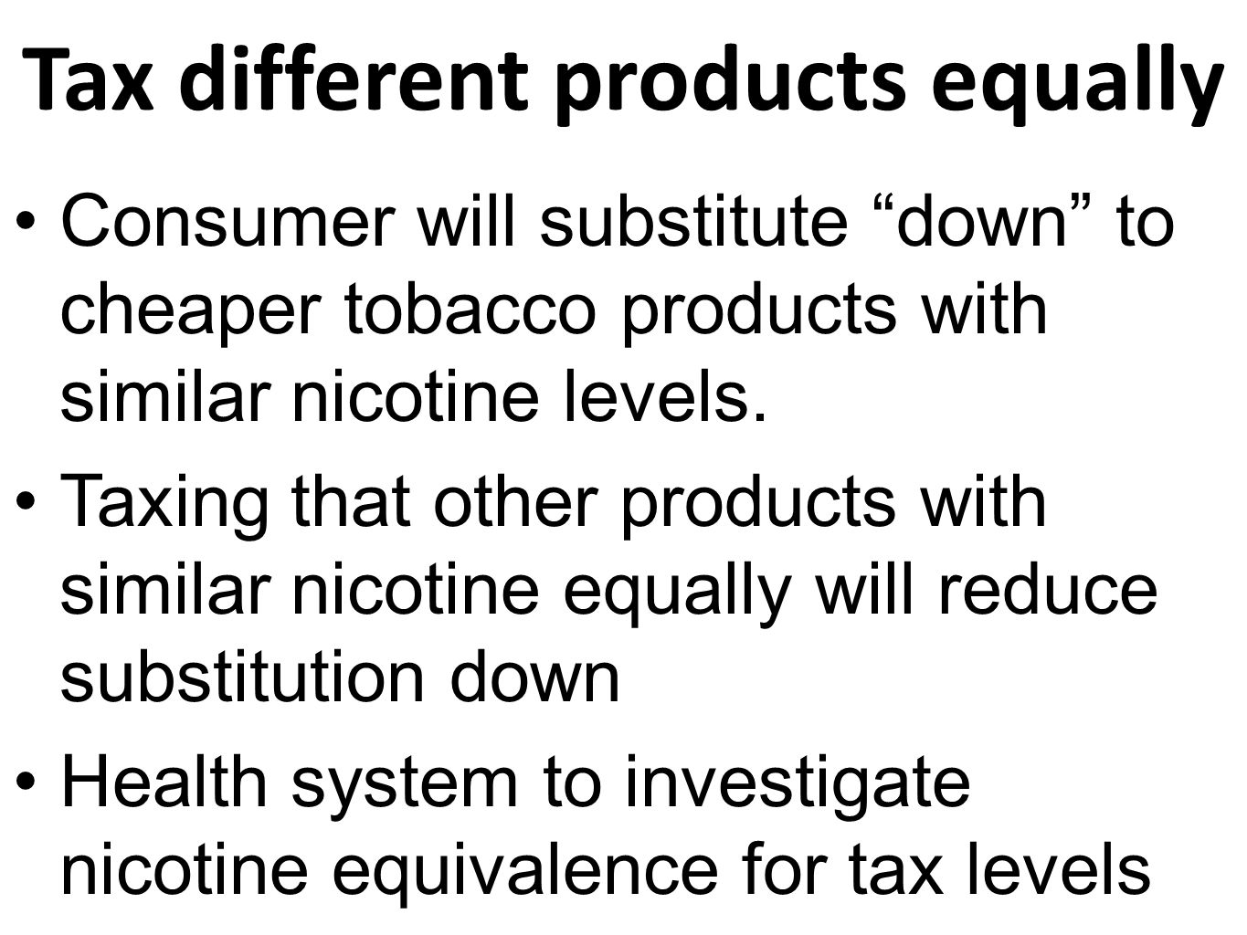 Tax different products equally