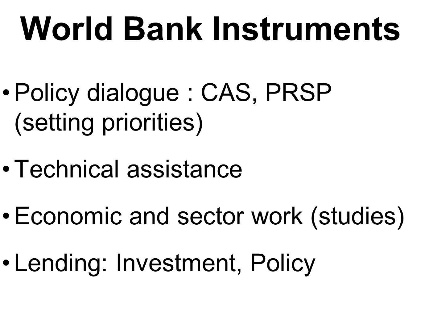 World Bank Instruments