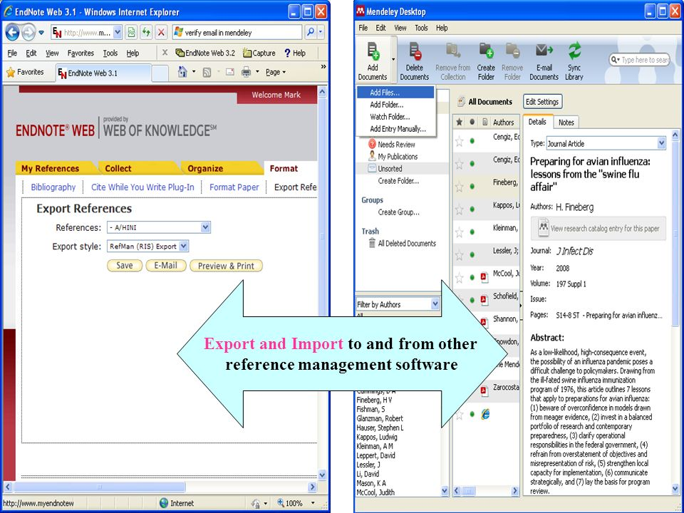 Export and Import to and from other reference management software