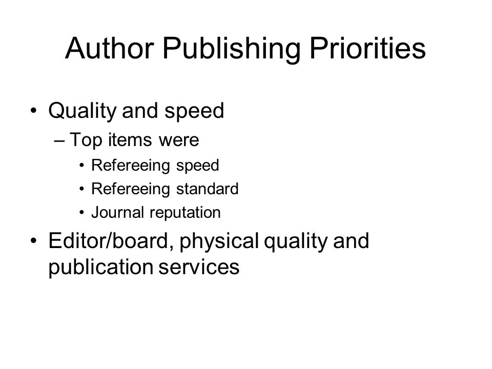 Author Publishing Priorities