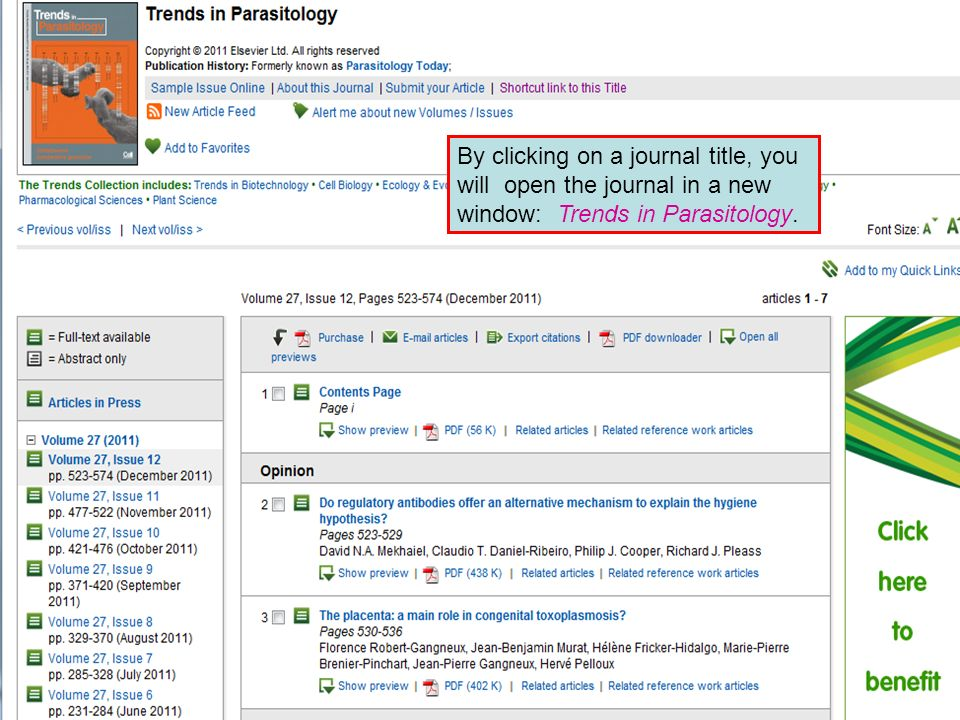 By clicking on a journal title, you will open the journal in a new window: Trends in Parasitology.