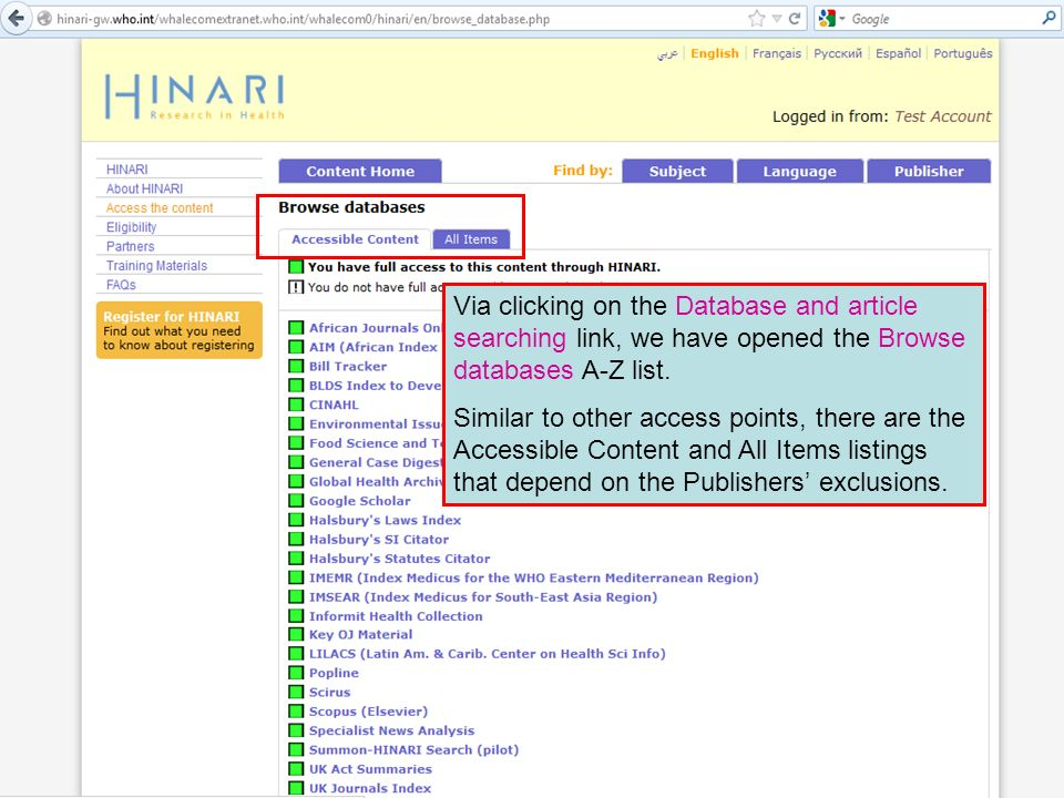 Via clicking on the Database and article searching link, we have opened the Browse databases A-Z list.