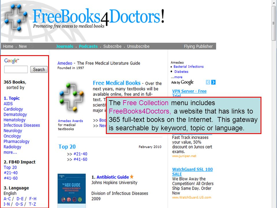 The Free Collection menu includes FreeBooks4Doctors, a website that has links to 365 full-text books on the Internet.