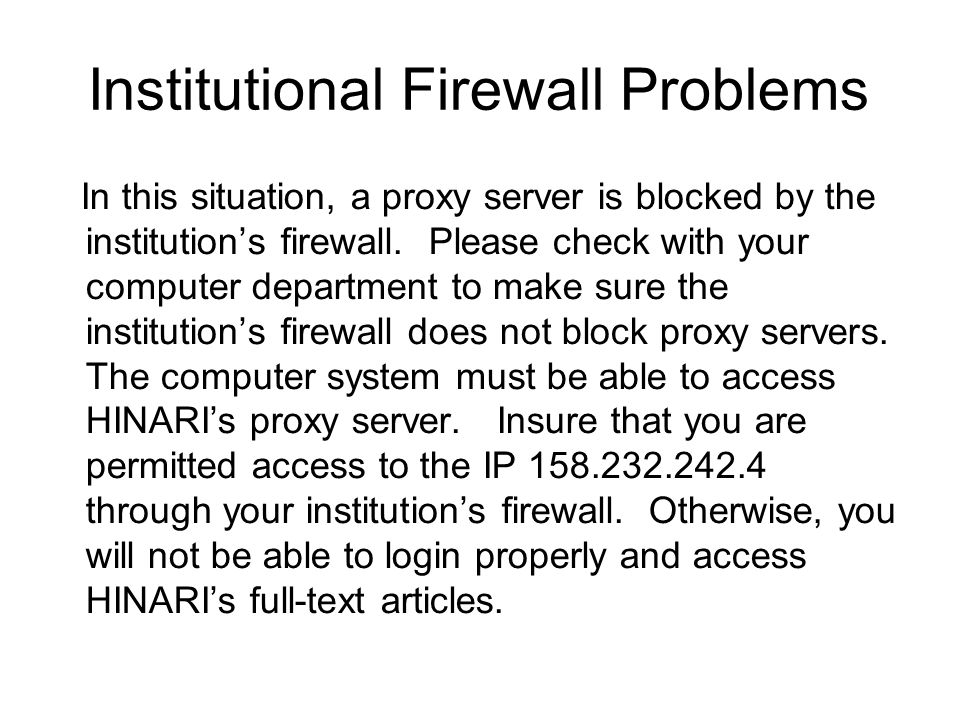 Institutional Firewall Problems