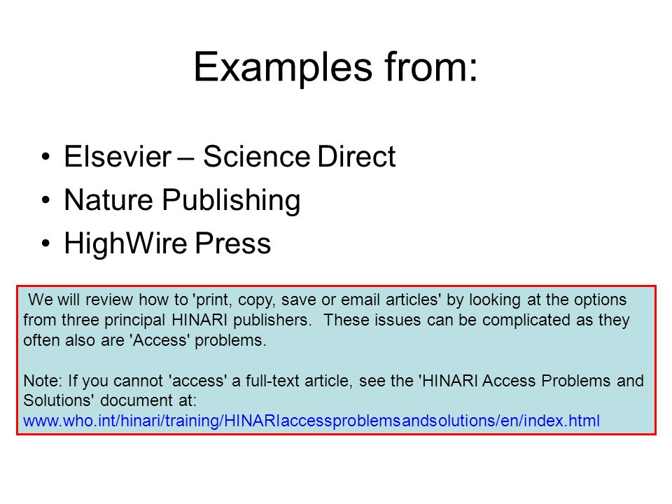 Examples from: Elsevier – Science Direct Nature Publishing