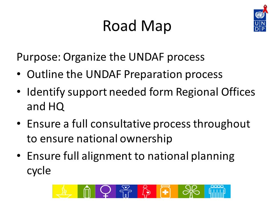 Road Map Purpose: Organize the UNDAF process