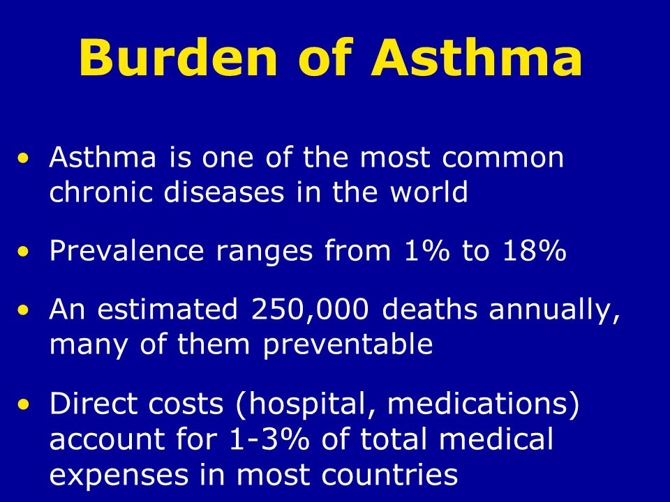 Burden of Asthma Asthma is one of the most common chronic diseases in the world. Prevalence ranges from 1% to 18%