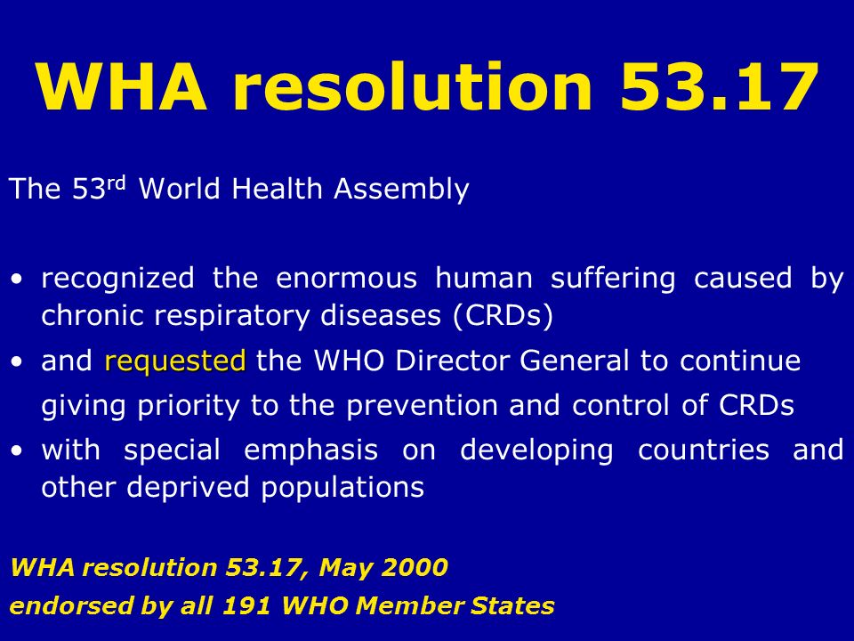 WHA resolution 53.17 The 53rd World Health Assembly