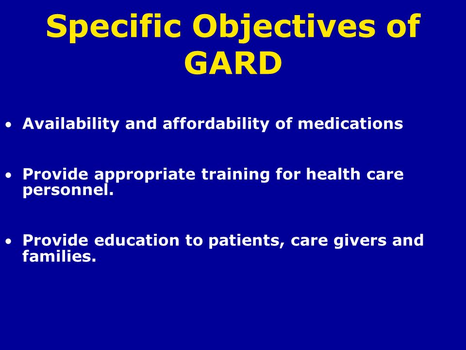 Specific Objectives of GARD